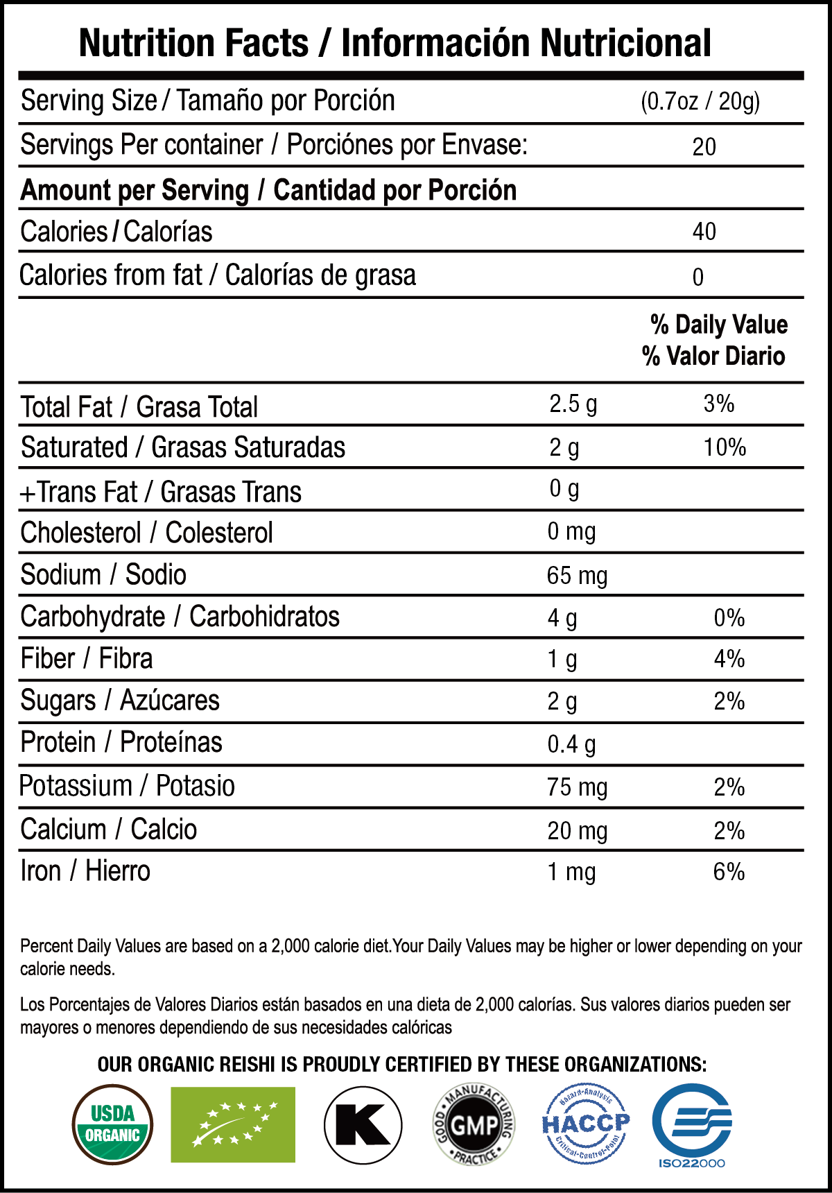 Latte Verde nutrition facts
